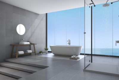 modern bathroom with tile flooring